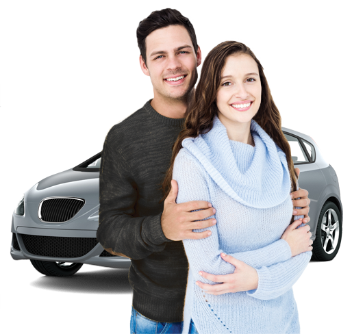 happy couple with car